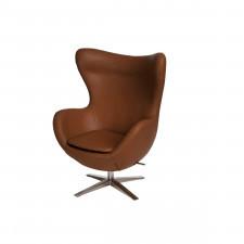 Fotel z ekologicznej skóry 82x110x74cm Jajo brązowy jasny