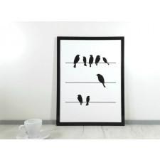 Grafika 30 x 40 cm Wzór 16.09.A   Czarne Ptaki