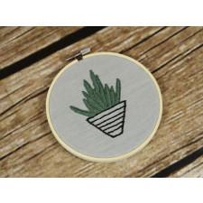 Haftowany obrazek na ścianę - kaktus - 13,5 cm