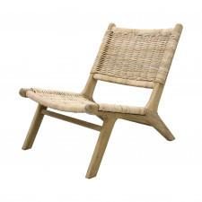 HK Living Wiklinowy fotel z drewnianą podstawą