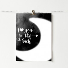 Plakat z napisem To the moon and back