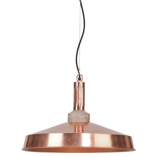 It's About RoMi Hanging lamp iron/wood Detroit round dia.51xh.28cm, copper/natural DETROIT/H/CO