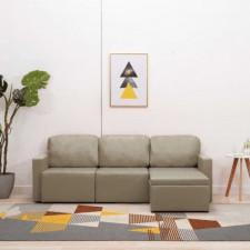 3-osobowa, rozkładana sofa modułowa, cappuccino, sztuczna skóra