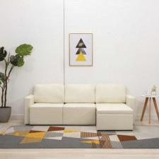 3-osobowa, rozkładana sofa modułowa, kremowa, sztuczna skóra
