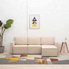 3-osobowa, rozkładana sofa modułowa, kremowa, tkanina