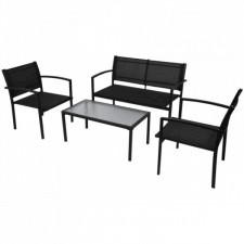 4-cz. zestaw wypoczynkowy do ogrodu, textilene, czarny