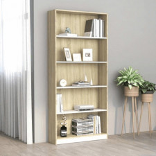 5-poziomowy regał na książki, biel i dąb sonoma, 80x24x175 cm
