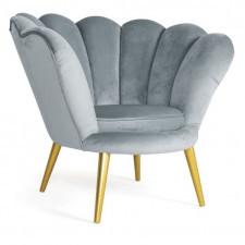 Aksamitny fotel magnolia velvet na złotych nóżkach