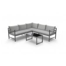 Aluminiowy narożnik ogrodowy lamongo ze stolikiem szary dla 5 osób