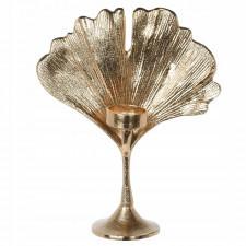 Aluminiowy świecznik glamour złoty liść