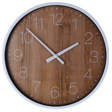 Analogowy zegar ścienny z drewnianym printem wod