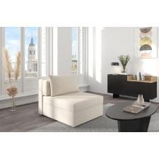 Beżowa rozkładana sofa dancan olga z funkcją spania i pojemnikiem na pościel / szerokość 86 cm