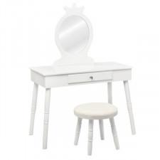 Biała toaletka kosmetyczna dla dzieci z lustrem i taboretem