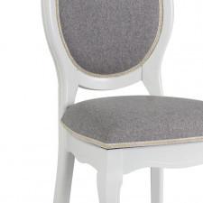 Białe krzesło z szarą tkaniną w stylu retro fn-sc