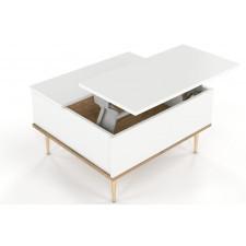Biały nowoczesny stolik kawowy skandica harmoni z otwieranym blatem