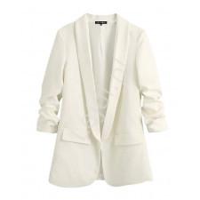 Biały żakiet premium z marszczonymi rękawami