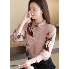 Brudno różowa koszula z orientalnym wzorem, japońska gejsza 249