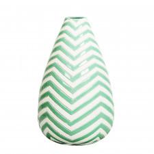 Ceramiczny ręcznie zdobiony wazon w zielone pasy