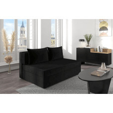 Czarna rozkładana sofa dancan olga z funkcją spania i pojemnikiem na pościel / szerokość 156 cm