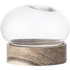 Dekoracja bloomingville szklana z drewnianą podstawą