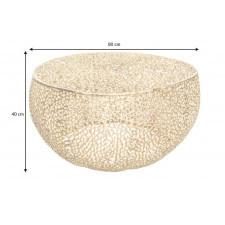 Designerski stolik kawowy leaf z nóżkami / złoty 80 cm