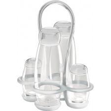 Dozowniki do oliwy i octu gocce transparentne z solniczką i pieprzniczką na stojaku 5 el.