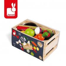 Drewniana skrzynka z warzywami i owocami green market 22 elementy 3-8 lat, janod
