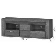 Drewniana szafka rtv z szufladami velvet 161 cm led dąb czarny
