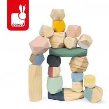 Drewniane kamyki sweet cocoon 20 elementów, janod