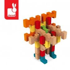 Drewniane klocki konstrukcyjne 100 elementów 6+, janod