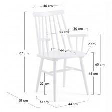 Drewniane krzesło patyczak kristie z podłokietnikami białe