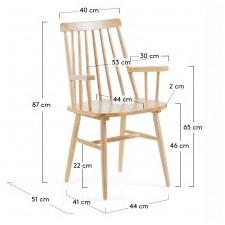 Drewniane krzesło patyczak kristie z podłokietnikami naturalne