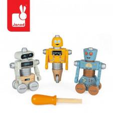 Drewniane roboty do składania ze śrubokrętem brico'kids, janod
