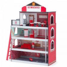 Drewniany domek - zabawkowa remiza strażacka z wyposażeniem