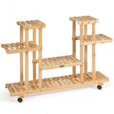 Drewniany kwietnik 4-poziomowy na kółkach