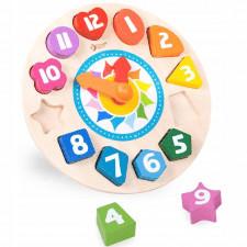 Drewniany sorter zegar dla dzieci 15 elementów