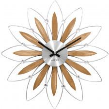 Drewniany srebrny zegar lavvu crystal flower  średnica 49 cm