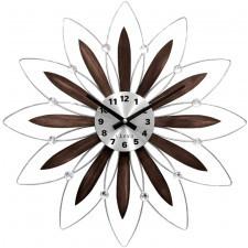 Drewniany srebrny zegar lavvu crystal lct 1113 flower z cyframi, średnica 49 cm