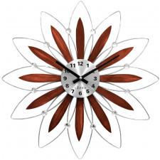 Drewniany srebrny zegar lavvu crystal lct1114 flower z cyframi średnica 49 cm