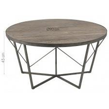 Drewniany stolik okrągły durham 90 cm wiąz drewno recykling