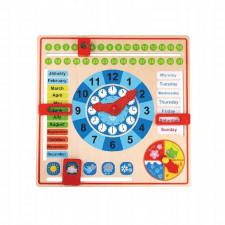Drewniany zegar kalendarz 2w1 dla dzieci
