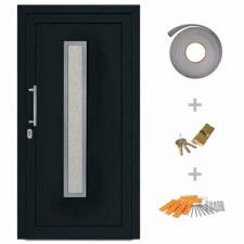 Drzwi wejściowe zewnętrzne, antracytowe, 108 x 208 cm
