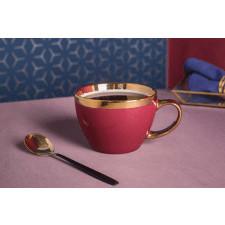 Duża filiżanka do kawy i herbaty porcelanowa altom design aurora gold bordowa 300 ml