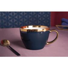 Duża filiżanka do kawy i herbaty porcelanowa altom design aurora gold granatowa 300 ml