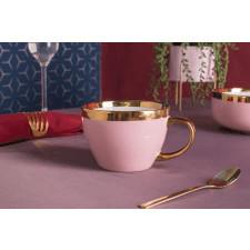 Duża filiżanka do kawy i herbaty porcelanowa altom design aurora gold pudrowy róż 300 ml