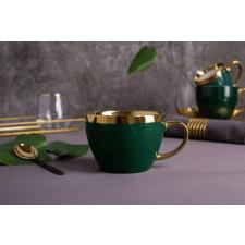 Duża filiżanka do kawy i herbaty porcelanowa altom design aurora gold zielona 300 ml