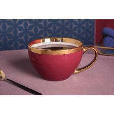 Duża filiżanka do kawy i herbaty porcelanowa jumbo altom design aurora gold bordowa 400 ml