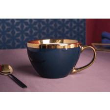 Duża filiżanka do kawy i herbaty porcelanowa jumbo altom design aurora gold granatowa 400 ml