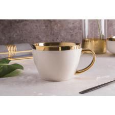 Duża filiżanka do kawy i herbaty porcelanowa jumbo altom design aurora gold kremowa 400 ml