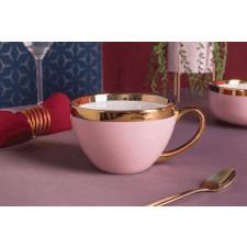 Duża filiżanka do kawy i herbaty porcelanowa jumbo altom design aurora gold pudrowy róż 400 ml